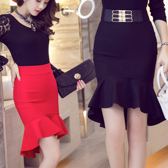 97481e8d2e TingYiLi High Low Mermaid Skirt Women High Waist Ruffle Asymmetrical Skirt  Ladies Elegant Midi Pencil Skirt Black Red