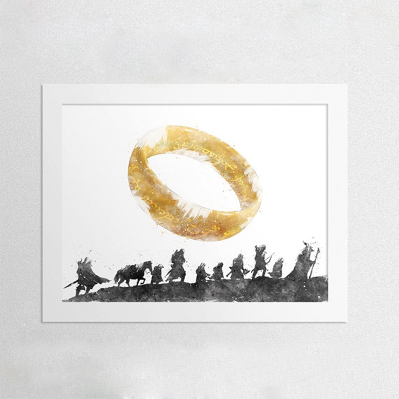 The Lord Of The Rings Canvas Art Print and Poster , Watercolor Fellowship Of The Ring Elvish Circle Canvas Printing Wall Picture image