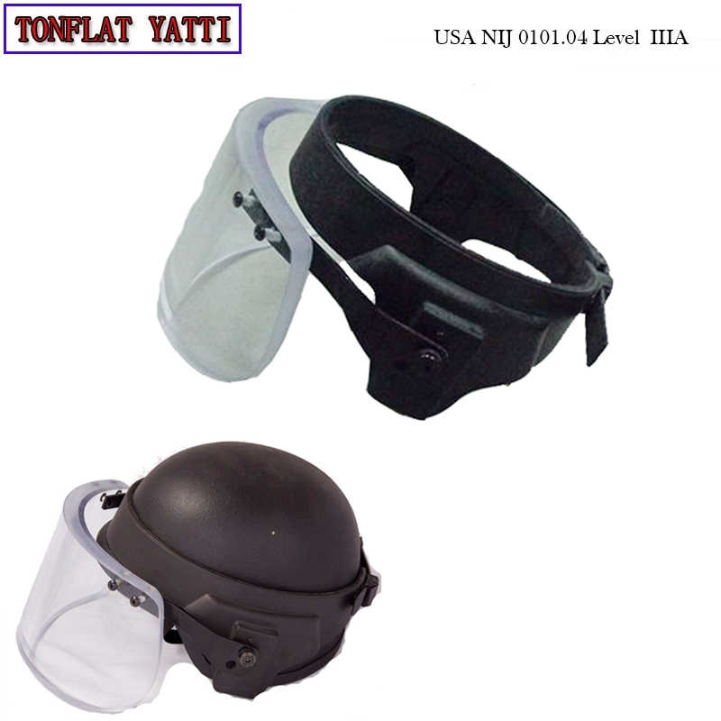 Bullet Proof Glass Ballistic Face Shield Military Tatico Anti Riot Face Shield On Helmet Visor Personal Self Defense Weapons