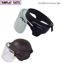Bullet Proof polyester flak Glass Ballistic Face Shield Military Tatico Anti Riot Face Shield Helmet Visor Personal Self Defense