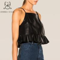 Summer tops for women sheepskin genuine leather crop top Ruffles female black OL sexy Camis short leather spaghetti strap top
