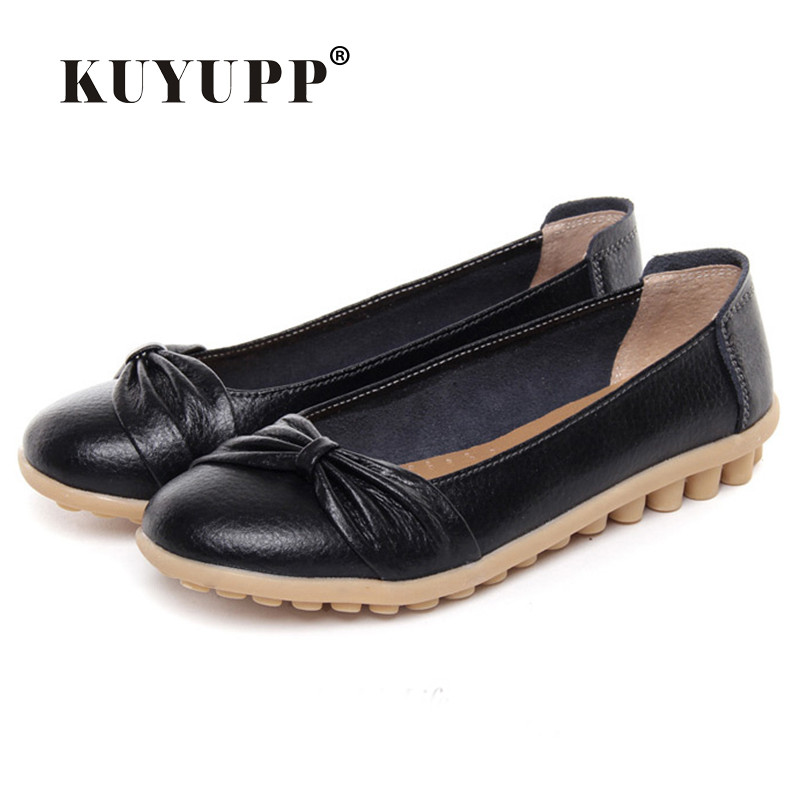KUYUPP Fashion Shoes Women's Cowhide Leather Bow Knot Loafers Casual Moccasin Driving Shoes Indoor Flat Slip-on Slippers YDT15 branded men s penny loafes casual men s full grain leather emboss crocodile boat shoes slip on breathable moccasin driving shoes