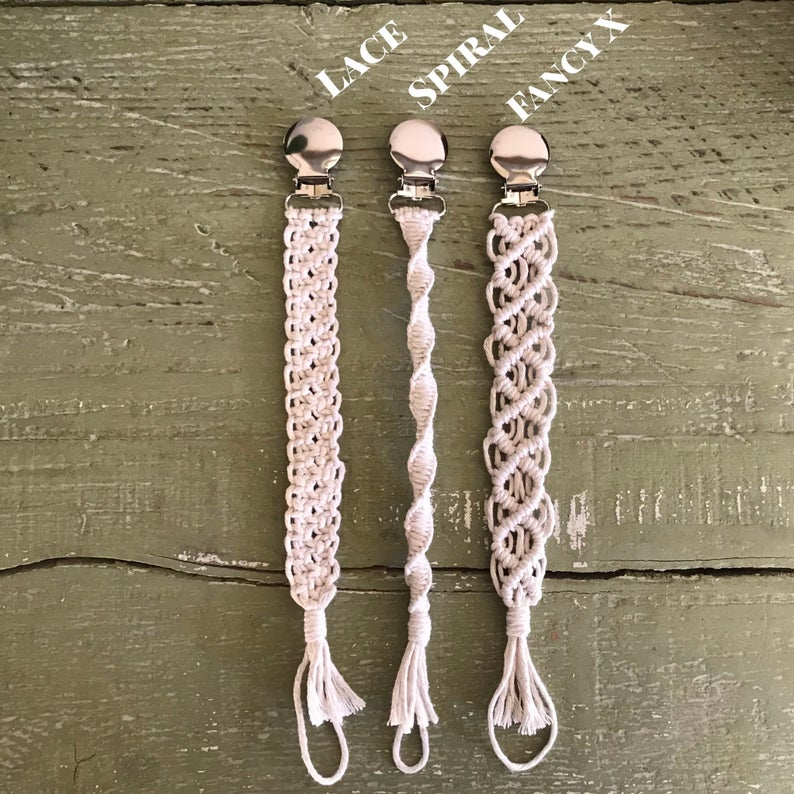 Macrame Baby Pacifier Clip Newborn Infant Toddler Nursing Teething Clip Holder Metal Clips Cotton Thread 4 Style