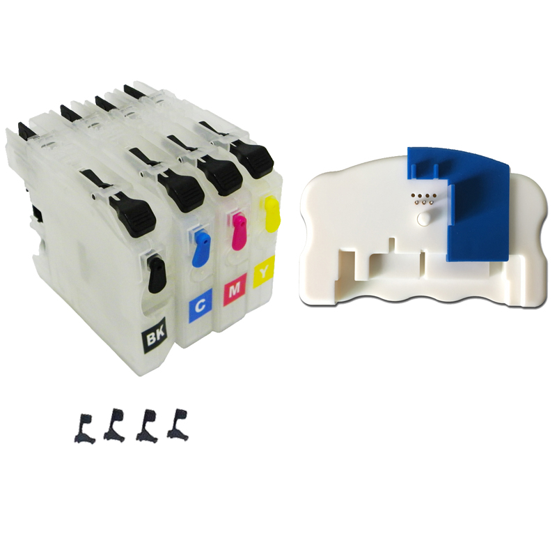 Refillable Ink Cartridge without chips + Chip Resetter for brother LC-103 105 107 113 115 117 123 125 127 121 133 135 137