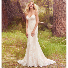 Verngo Mermaid Wedding Dress Lace Appliques Wedding Gowns Sexy V-Back Bride Dress Elegant V-neckline Vestidos De Novia 2019 недорого