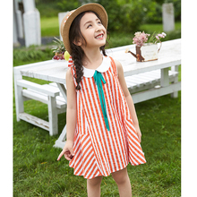 Figwit Girls Striped Dress Sleeveless Orange Children Girls Clothing Cotton Dress For Age 7 9 10 11 13 Years Teenager School