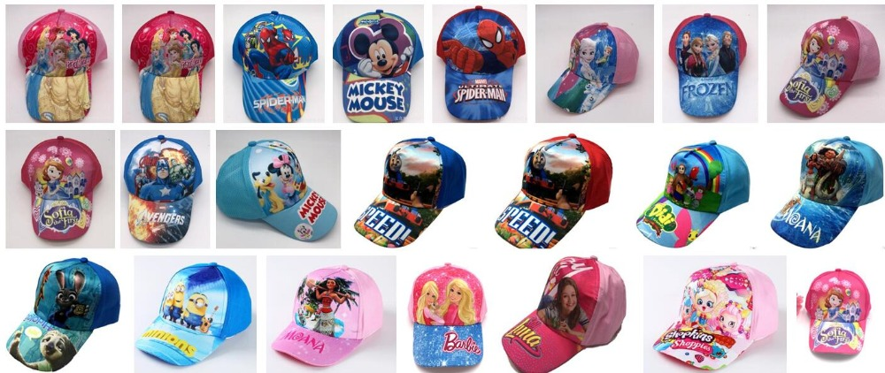 BOYS GIRLS KIDS CHARACTER HATS BASEBALL CAPS MARVEL MICKEY FROZEN CAP
