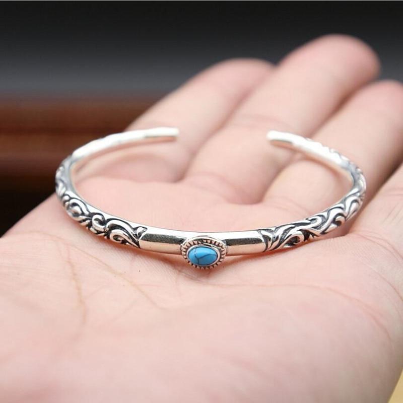 Arabesque Pattern Bangles 100 Real 925 Sterling Silver Bracelet Bangle for Men or Women Fine Jewelry