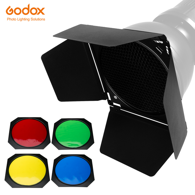 Godox BD 04 Barn Door with Honeycomb Grid and 4 Color Gel Filters (Red Yellow Blue Green)