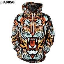 Liasoso Marca Ropa Hip Hop hombres mujeres con capucha Sudaderas Pop Art  Print Tiger 3D sudadera hombres casual tracksuits pullo. 0ee74d6f579