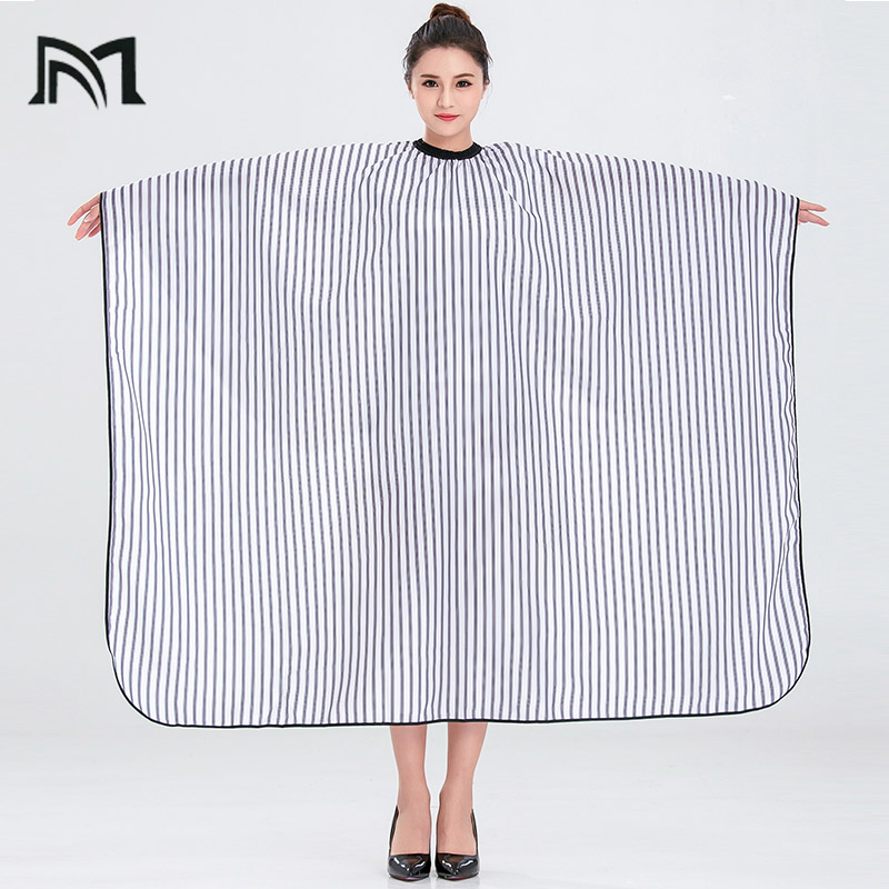 Купить с кэшбэком Drop-shipping 2 Colors Polyester Salon Wrap Apron Stripe Leisure Style Peri Cloth Water-repellent Cape Hairdressing Assistant B1