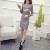 2016 Winter Temperament Hit Color Knit Dress Semi Turtleneck Sweater Slim Package Hip Winter Female Backing