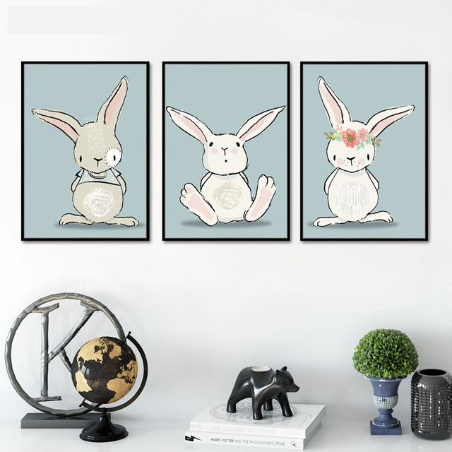 Hot Cute Cartoon Rabbit Posters and Prints Canvas Art Not Framed Painting Wall Art Nursery Decorative Picture Kids Decoration