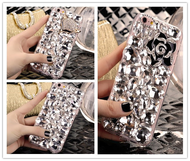 Dower Me Bling лиса цветок С кристалалми и стразами чехол для iPhone 7 6 6 S плюс 5S 5C 4S Samsung Galaxy Note 5 4 3 2 S7/6 Edge Plus S5/4/3