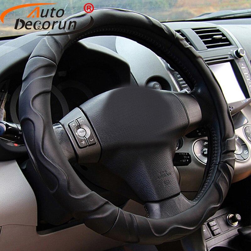 AutoDecorun housse de volant de voiture en simili cuir d'agneau pour Jaguar XE XF XJ XJL XFL housse de volant de voiture universelle 37-38 CM de diamètre