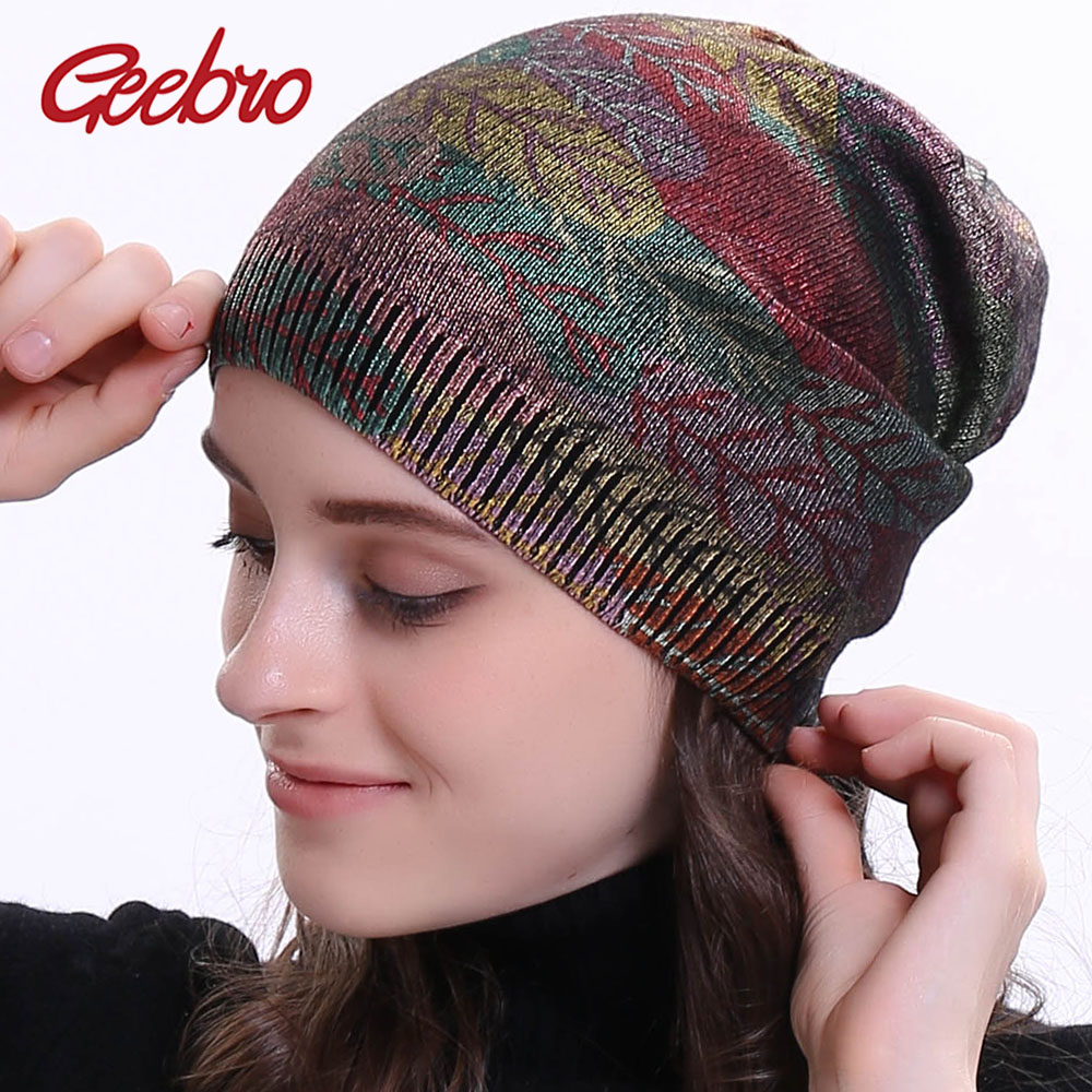 Geebro  Women's Bronzing Cashmere Beanies Hat Casual Spring Wool Knitted Hats Ladies Metal Multicolor Print Beanie Cap DQ414N
