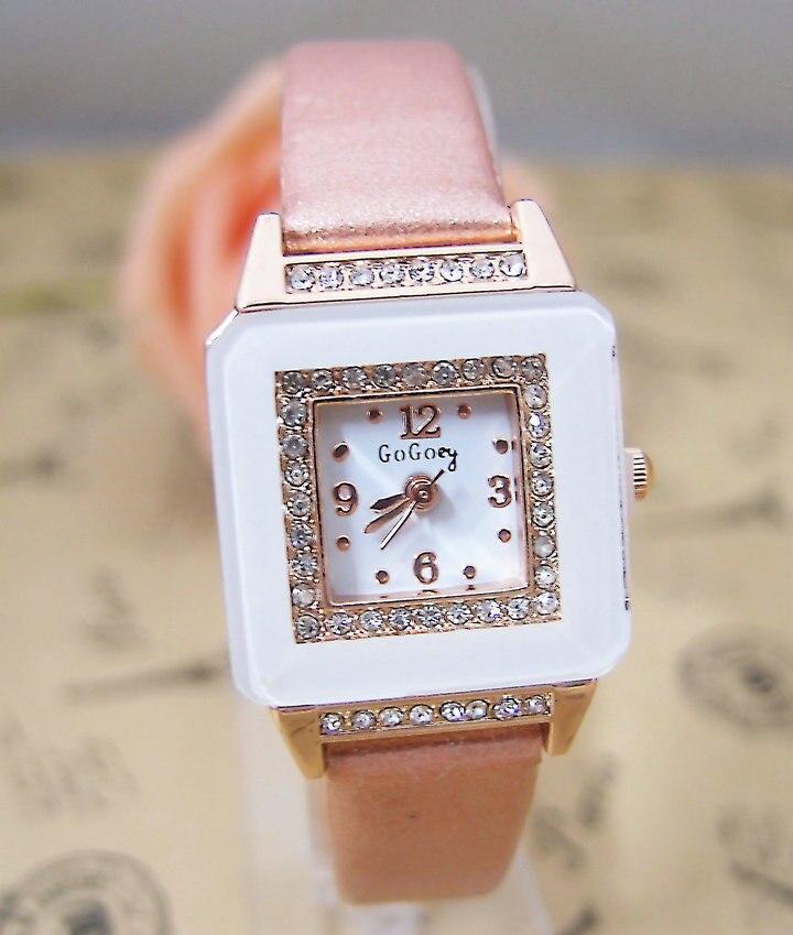 Hot Sales Gogoey Brand Pu Leather Watch Women Ladies rhinestone dress quartz wristwatch Relogio Feminino go049