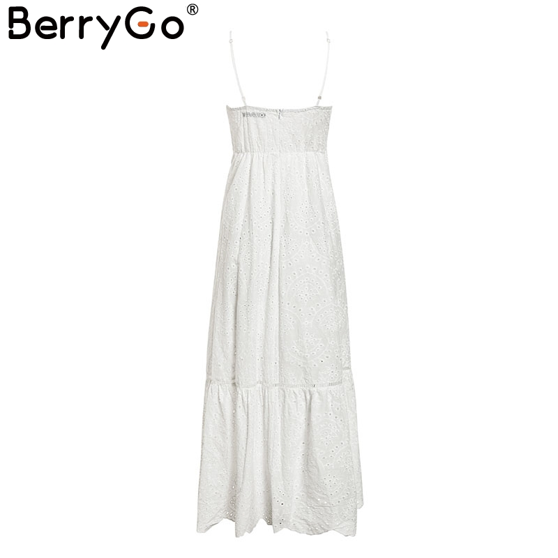 BerryGo White pearls sexy women summer dress 19 Hollow out embroidery maxi cotton dresses Evening party long ladies vestidos 12