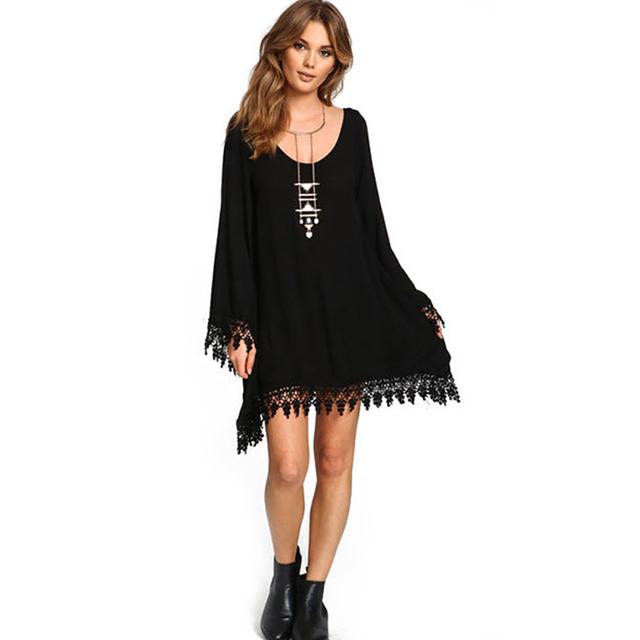 2017 Summer Women Boho Tassel Dress Short Vestido Sexy Lace Crochet Chiffon Tunic Hollow Black Beach Shirt Dress Blusa Hot Sale
