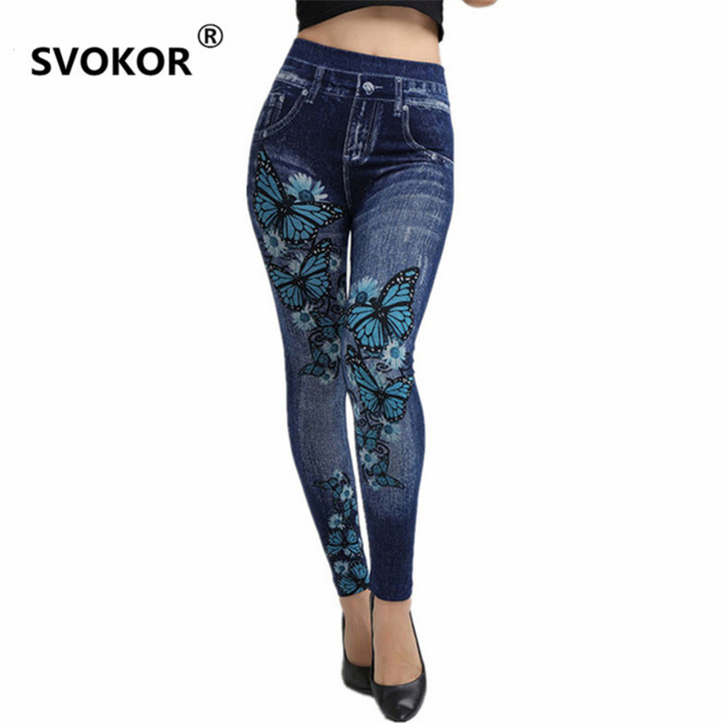 SVOKOR sale seamless super stretch 2018 new hot   jeans   butterfly printing soft ladies leggings women sports pants girl