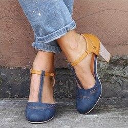 EOEODOIT Women Pumps Sandals Summer High Square Heels Leather Shoes T Buckle Round Toe Retro Sandals Plus Size Autumn Heels 8 CM