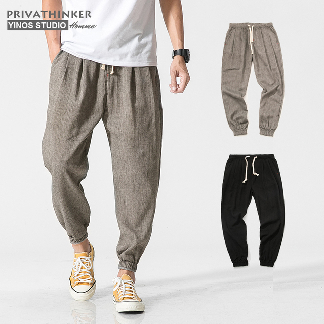 Privathinker Cotton Linen Casual Harem Pants Men Joggers Man Summer Trousers Male Chinese Style Baggy Pants 2020 Harajuku Clothe 4