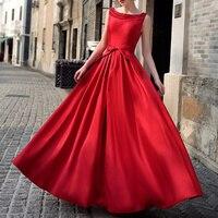 Elegant Womens Crewneck Satin Slim Fit Red Long Full Length Dress Evening Party Dresses Vestidos De Fiesta