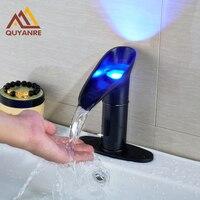 LED Licht Zwart Kleur Wastafel wastafel Kraan Waterbesparende en Quick Open Type Automatische Sense Kranen