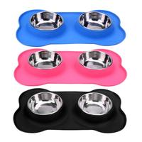 Steel Dog Bowl With No Spill Non Skid Silicone Mat Feeder Pet Puppy Cat Food Container