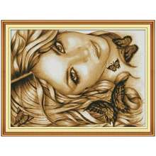 14/16/18/27/28 Beauty and butterfly counted Cross Stitch Set DIY DMC Chinese Cross-stitch Kit Embroidery Needlework 4th(China)