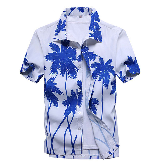 Mens Summer Fashion Beach Hawaiian Shirt Brand Slim Fit Short Sleeve Floral Shirts Casual Holiday Party Clothing Camisa Hawaiana 5