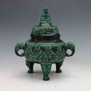 Collectible Decorated Chinese Hand-carved Bronze Buddha Incense Burner&Lid