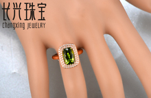 Hot sale 7x10mm Cushion Cut 3.27ct  natrual Peridot Halo Pave Diamonds 14K Rose Gold Engagement Ring