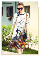 Plus Size Women Fashion Summer Floral Animal Print Long Casual Beach Bohemian Silk Dress Work Office
