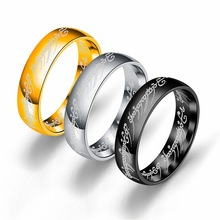 US Size 7 to13 Mens Stainless Steel Rings The Tungsten Carbide One Ring of Power Width 6mm Gold / Black Fashion Movie Jewelry