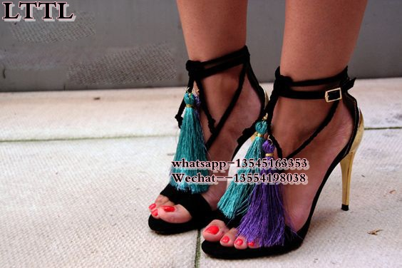 Colorful Fringe thin High Heels Gladiator Sandals Women Boots Snakeskin Lace Up Women Sa ...