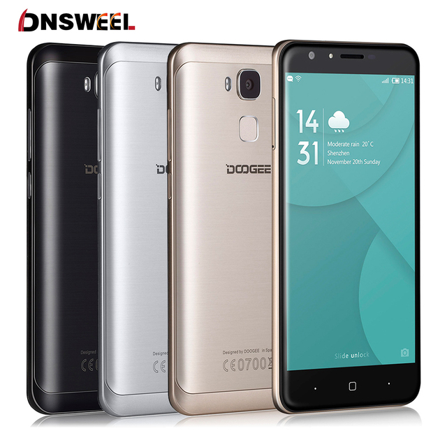 Original Doogee Y6 5.5 Inch Smartphone Android 6.0 MT6750 Octa Core Mobile Phone 2GB RAM 16GB ROM Fingerprint 4G LTE Cell Phone