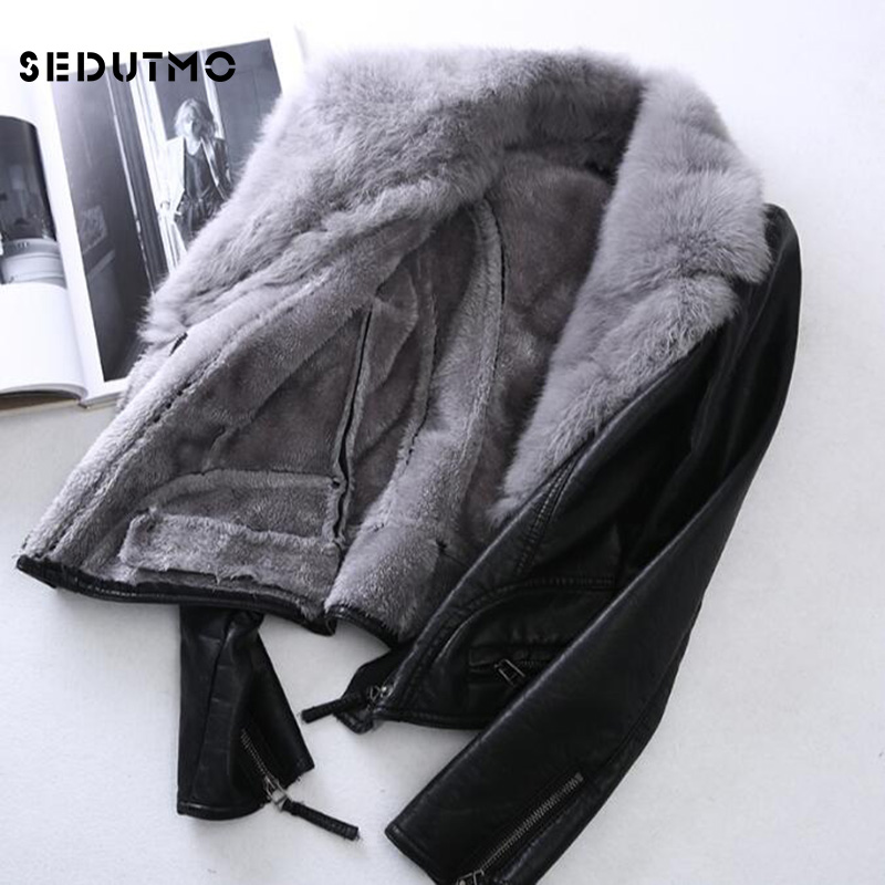 SEDUTMO 2018 Plus Size 3XL Faux   Leather   Jacket Women Punk Fur Coat Black Biker Jacket Motorcycle Outerwear ED056