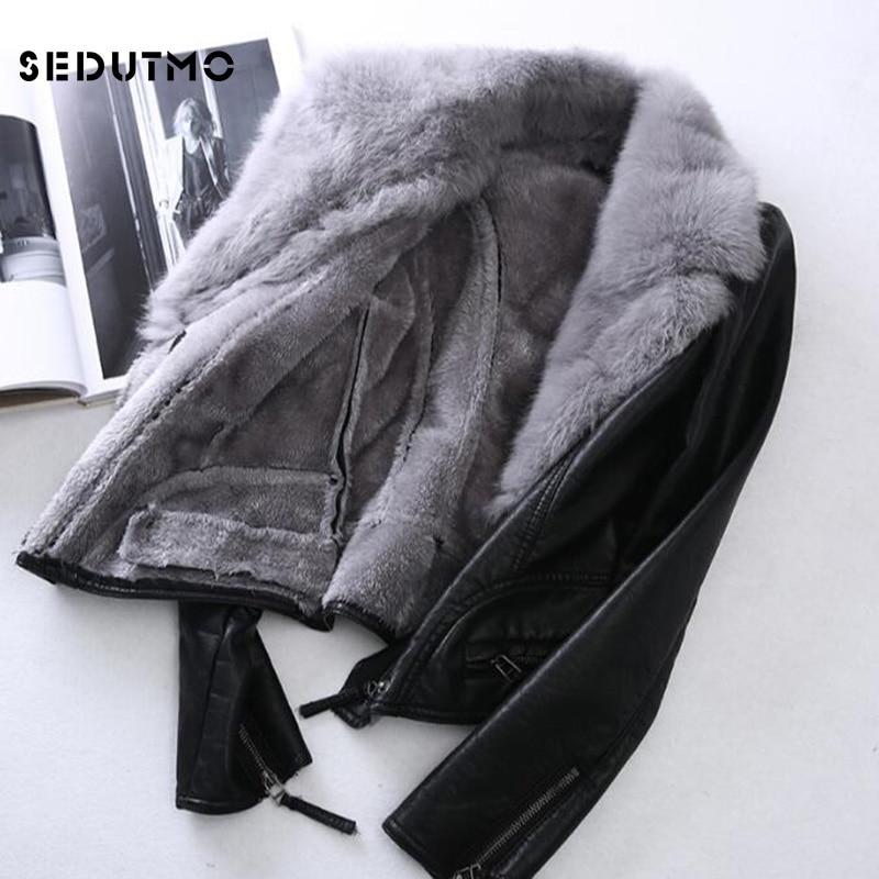 SEDUTMO 2018 grande taille 3XL veste en simili cuir femmes Punk manteau de fourrure noir Biker veste vêtement de motard ED056