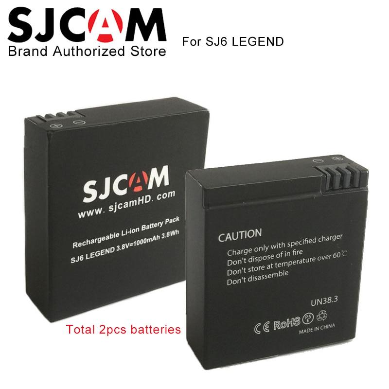 2PCS SJCAM SJ6 Legend Battery 3.8V 1000mAh 3.8Wh Rechargeable Li-ion Battery Pack For SJCAM SJ6 LEGEND Sport Action Camera DV