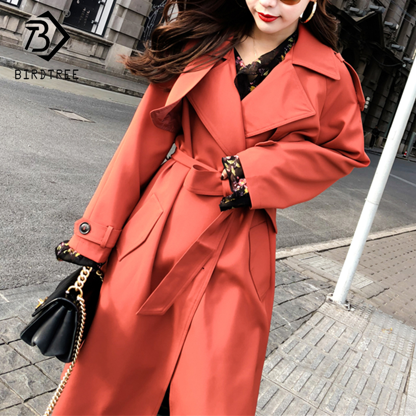 Women's 2018 New Solid   Trench   Full Sleeve Turn-down Collar Slash Solid Single Breasted Korean Style Slim Outerwear C87914LD