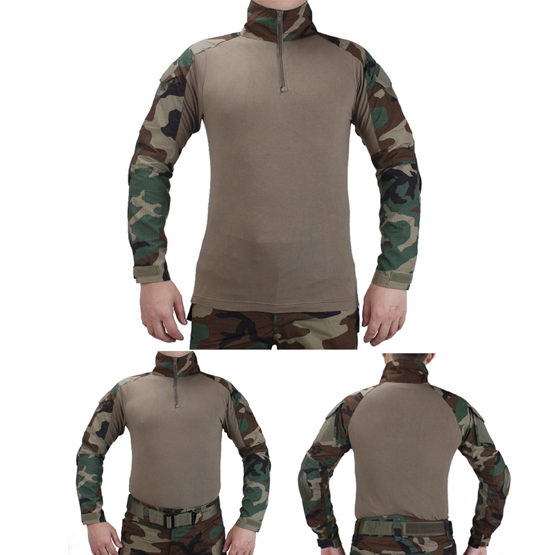 Tactical BDU combat T-Shirts Military Action Camouflage T-shirt airsoft paintball hunting clothing With elbow pads Woodland mege tactical camouflage hunting military army airsoft paintball clothing combat assault uniform with elbow