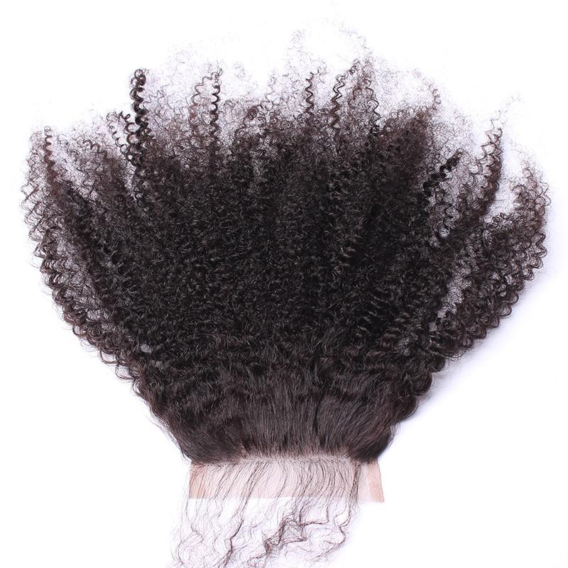 Afro Kinky Bouclés Dentelle Fermeture Avec Bébé Cheveux 4B 4C 100% - Cheveux humains (noir) - Photo 6