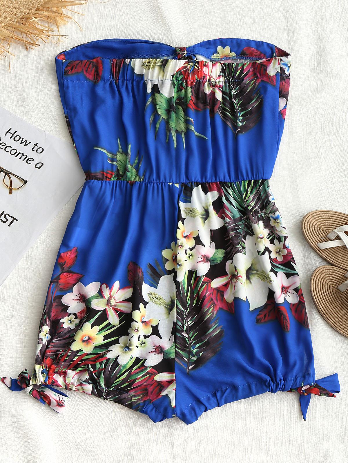 AZULINA Cute Flower Knotted Boobtube Women Romper Strapless Tropical Floral Print Elastic Waist Jumpsuits Summer Beach Overalls