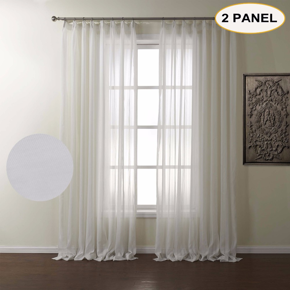 Curtain For Double Window Us 49 22 Momo White Solid Sheer Curtains Double Pleated Window Drape Curtains For Bedroom Living Room Curtain With Custom Size 2 Panels In