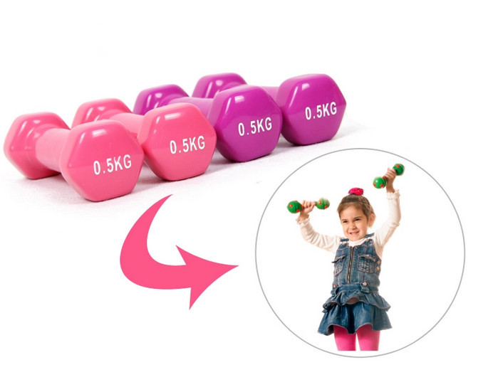 0 5Kg 2 Plastic Dip Multicolour New 2015 dumbbell Household child 39 s Fitness Dumbbell wholesale free shipping kylin sport in Dumbbells from Sports amp Entertainment