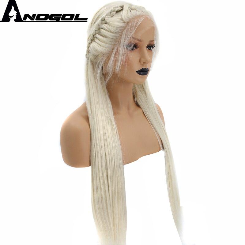 Anogol Haute Température Fiber Naturelle Longue Ligne Droite Platinum Blonde Tressé Princesse Synthétique Avant de Lacet Perruque Avec Des Cheveux de Bébé