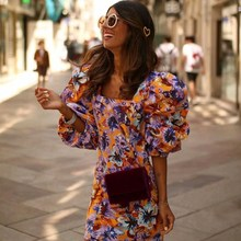 Summer Women Fashion Dress Square neck Puff Sleeve Floral Printing Mini Elegant Vestidos