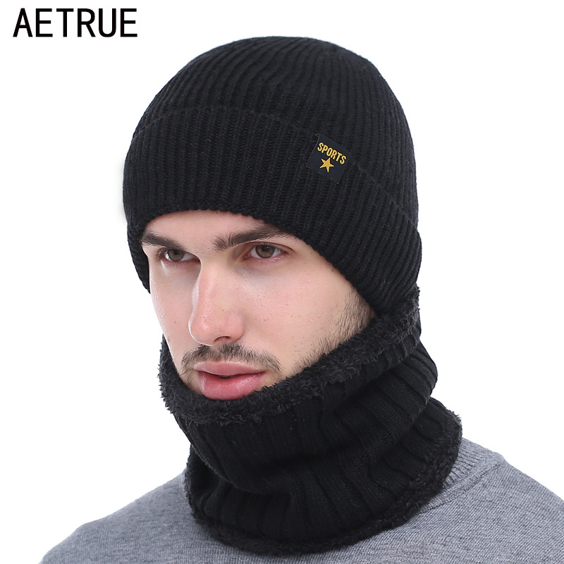 AETRUE Brand Winter Hat Knitted Hat Scarf   Skullies     Beanies   Men Winter   Beanies   For Men Women Gorras Wool Bonnet Mask Male Hat Cap