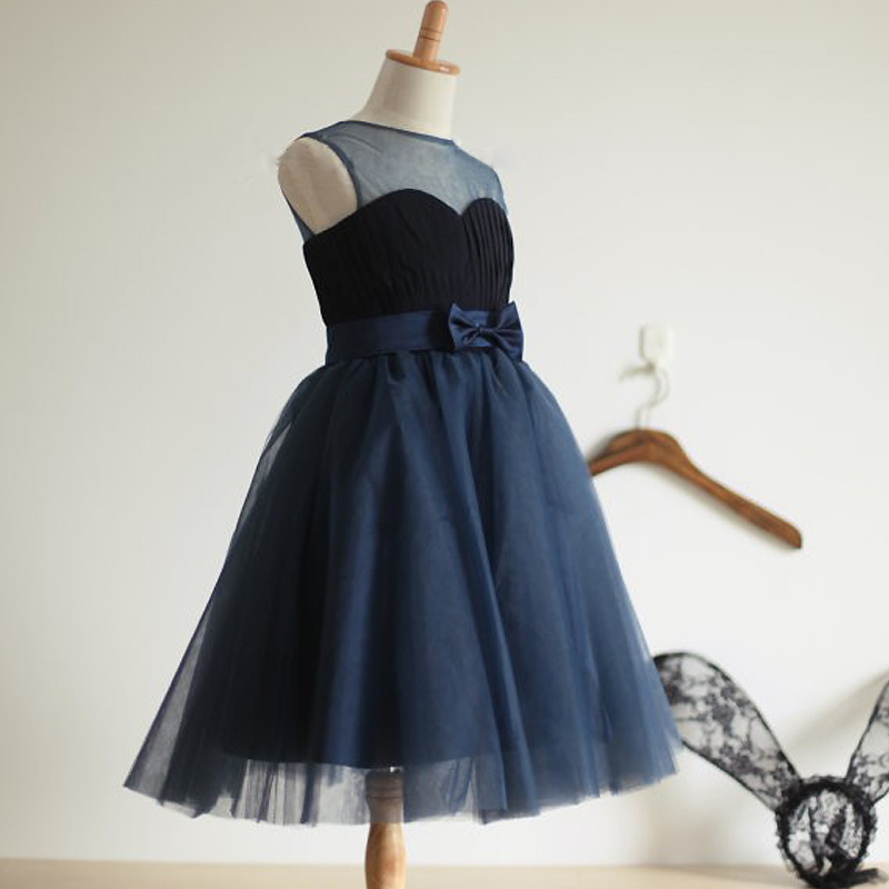 navy blue tulle flower girl dress formal 12 year old girls vestido de daminha graduation teenage size 14 - Professional manufacture dresses store
